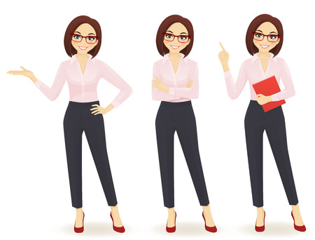 Elegant business woman in different poses isolated Imagens - 65795956