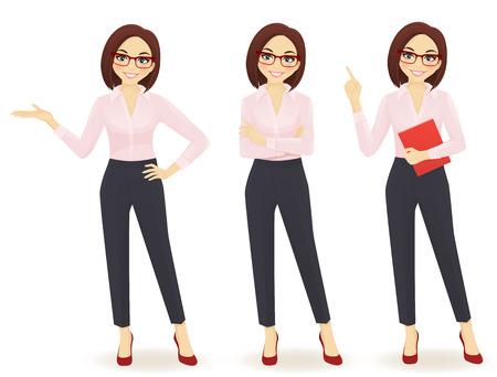 elegante mujer de negocios en diferentes poses aislado