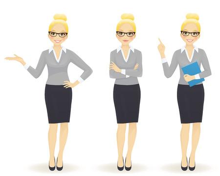 Elegante zakelijke vrouw in verschillende poses geïsoleerd Vector Illustratie