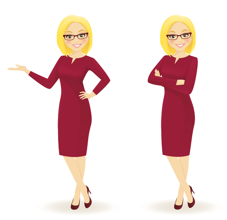 Elegant business woman in different poses isolated Imagens - 66493040