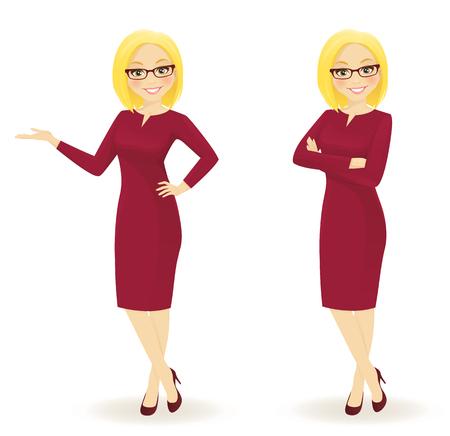 Elegante zakelijke vrouw in verschillende poses geïsoleerd Stock Illustratie