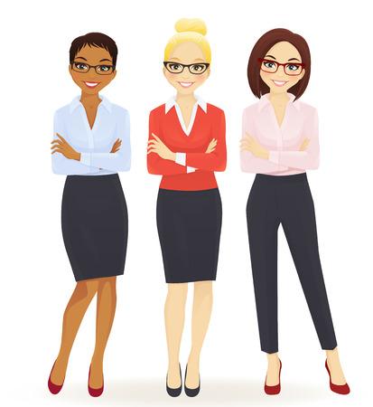 Tre donne d'affari eleganti in diverse pose isolato