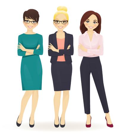 Trzy eleganckie kobiety biznesu w różnych pozach izolowanych