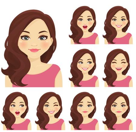 Blonde vrouw met verschillende gezichtsuitdrukkingen geplaatst geïsoleerd Stockfoto - 65795970