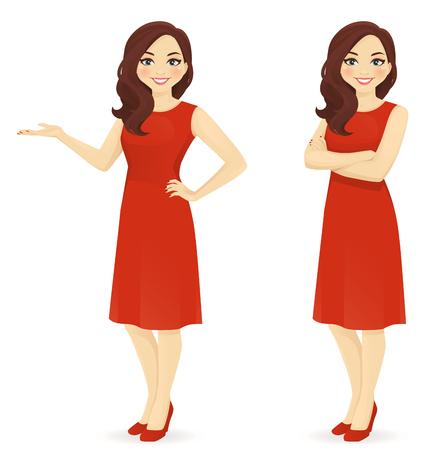 分離された別のポーズに赤いドレス立って美しい女性