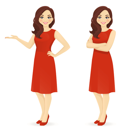 Beautiful woman in red dress standing in different poses isolated