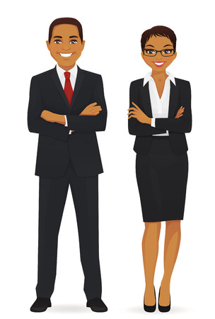 Business team. Cheerfull business man and woman with arms crossed isolated.