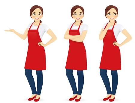 Beautiful woman in red upron standing in different poses isolated Stock Illustratie