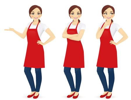 Mooie vrouw in rode upron staan in verschillende poses geïsoleerd