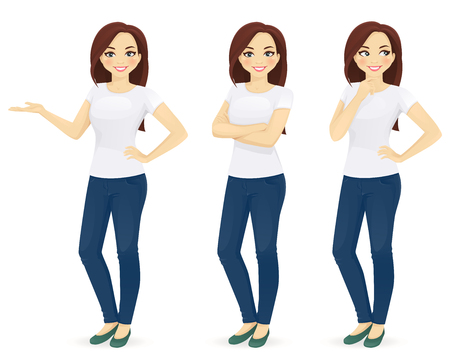 Woman in jeans standing in different poses isolated Stock Illustratie