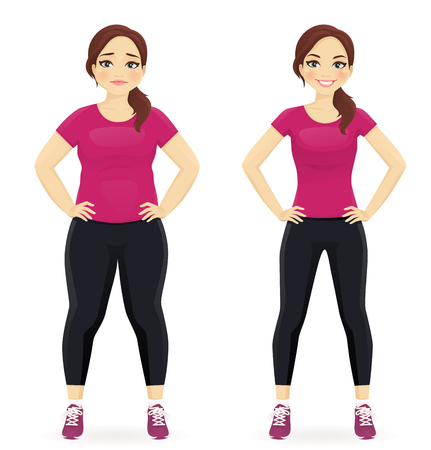 healthy woman: Fat and slim woman, before and after weight loss in sportswear isolated