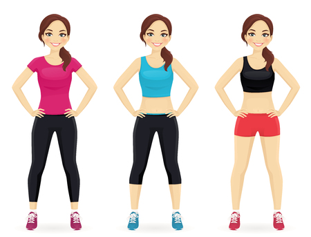 sportswear: Young fit woman in different sportswear standing isolated