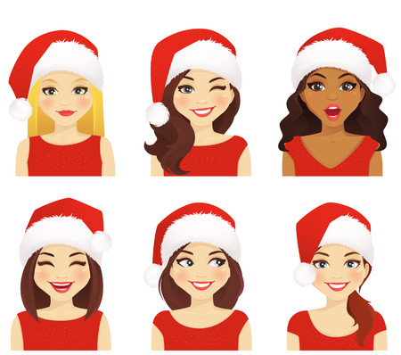 laughing face: Set of women with different facial expressions in christmas santa hat isolated Illustration
