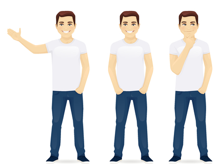 Young man in jeans standing in different poses isolated Vektoros illusztráció