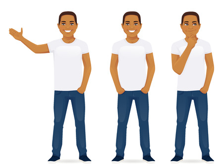 black man thinking: Young man in jeans standing in different poses isolated