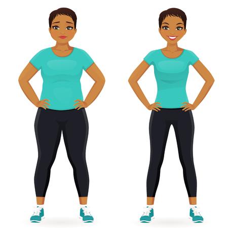 脂肪とスリムな女性は、前と分離したスポーツウェアの減量後