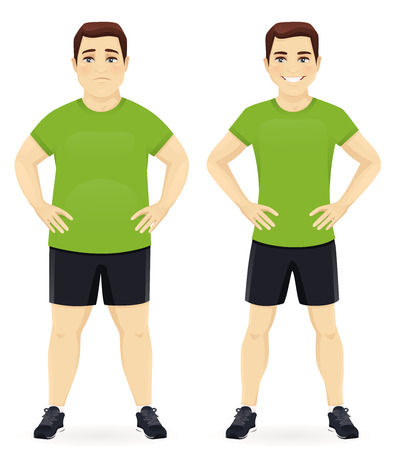 Fat and slim man, before and after weight loss in sportswear isolated