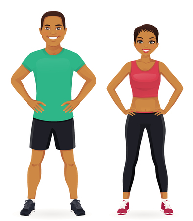 Young man and woman in sports outfits isolated