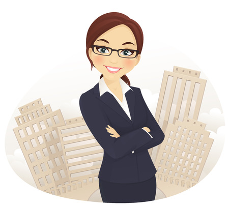 Cute business woman with arms crossed isolated Illustration
