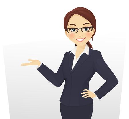 femme d'affaires mignon montrant quelque chose en souriant