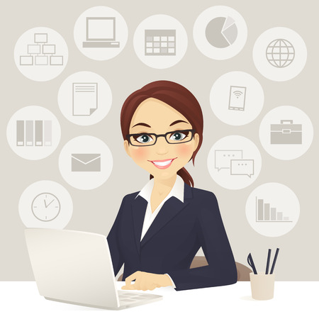 woman laptop: Cute business woman in office with laptop Stock Photo
