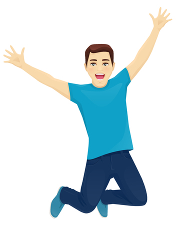 Happy surprised man in jeans jumping isolated 스톡 콘텐츠