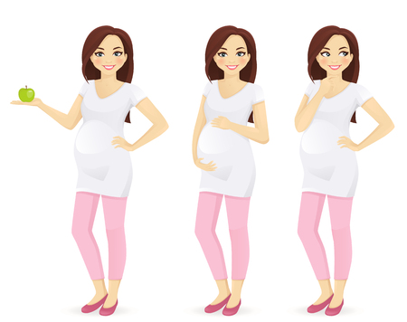 Woman pregnant standing in different poses isolated. Holding green apple, touching her belly, thinking.