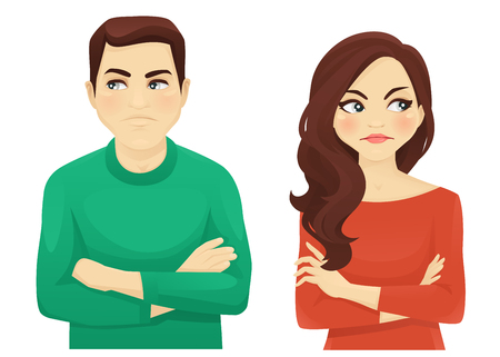 Woman and man angry emotion 矢量图片
