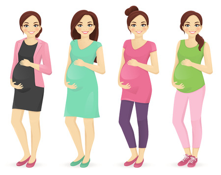 Woman pregnant clothers set with different hairstyles