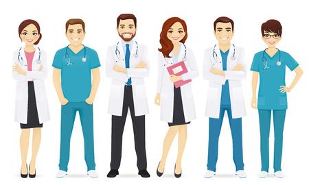 Team of doctors illustration. Vettoriali