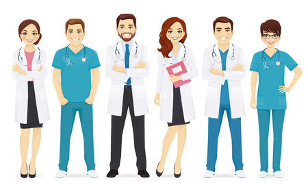 Team of doctors illustration. Çizim