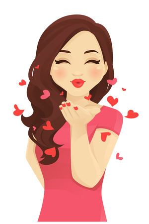 Young women blowing kiss isolated vector illustration