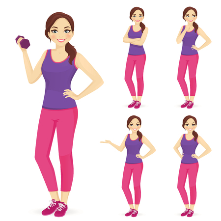 Sport woman in different poses vector illustration set