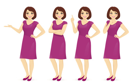 Woman in different poses vector isolated set