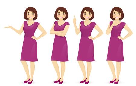 Mulher em poses diferentes vector conjunto isolado