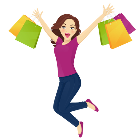 Women in jeans jumping with sopping bags vector illustration