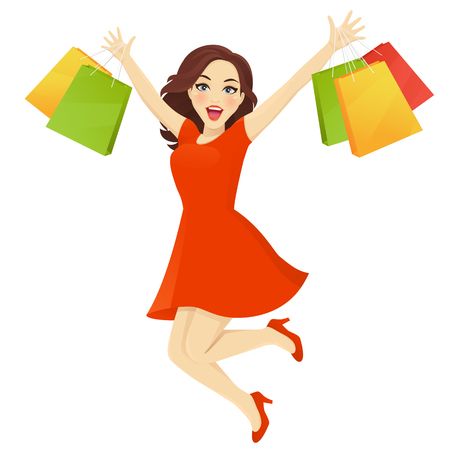 Women in dress jumping with sopping bags vector illustration Stock Illustratie