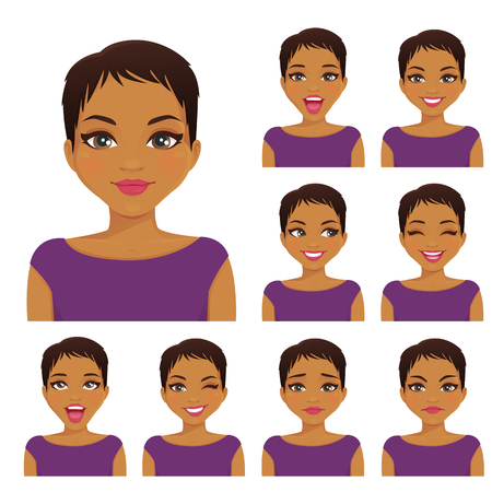 Woman with different facial expressions set vector illustration