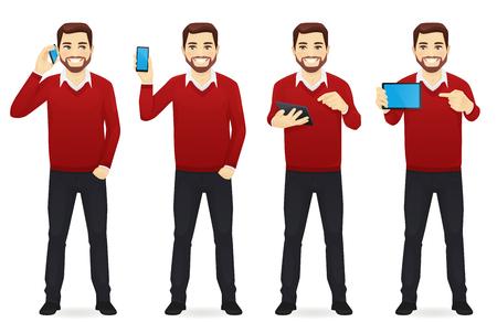 Geschäftsmann mit Gadgets Vektorgrafik
