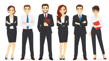 Business team set isolated on plain background Illustration