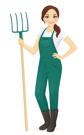 Woman farmer with forks Illustration