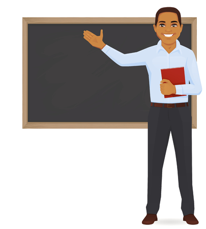 Male teacher at blackboard Çizim