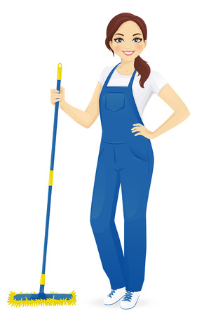 Professional female floor cleaner Ilustrace