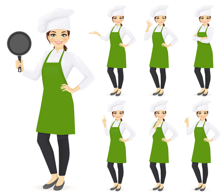 Woman chef set in different poses holding pan with empty space vector illustration