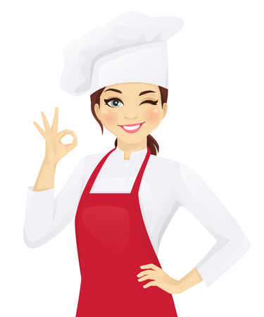 Confident chef woman gesturing ok sign vector illustration Stockfoto - 100959102