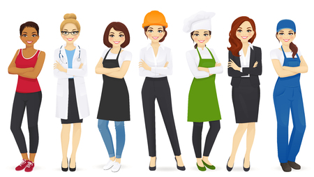 Different woman professions set vector illustration. Doctor, coach, businesswoman, hairdresser, engineer, chef and worker.