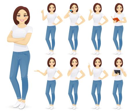Mujer en jeans con diferentes gestos aislados Ilustración de vector