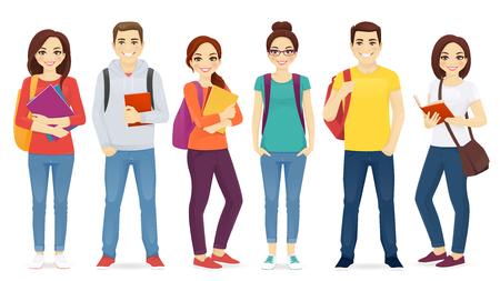 Set di studenti con libri e zaini isolati