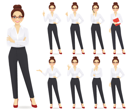 Businesswoman character in different poses set