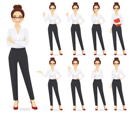 Conjunto de personaje de empresaria en diferentes poses Ilustración de vector